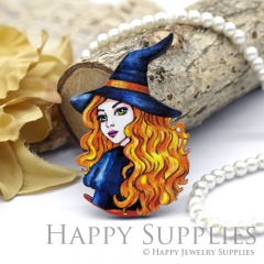 4Pcs Mini Handmade Wooden Laser Cut Woman Charms / Pendants (CW102-D)
