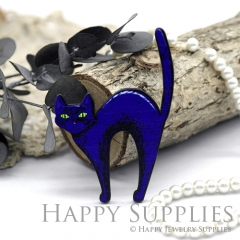 4Pcs Mini Handmade Wooden Laser Cut Easter Halloween Animal Cat Charms / Pendants (CW103-C)