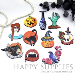 4Pcs Mini Handmade Wooden Laser Cut Animal Easter Halloween Charms / Pendants (CW101)