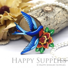 4Pcs Mini Handmade Wooden Laser Cut Blue Bird Flower Charms / Pendants (CW102-E)