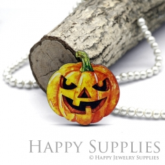 4Pcs Mini Handmade Wooden Laser Cut Pumpkin Charms / Pendants (CW101-A)
