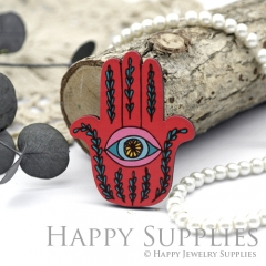 4Pcs Mini Handmade Wooden Laser Cut Red Hand Eye Charms / Pendants (CW102-A)