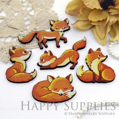 4Pcs Handmade Wooden Laser Cut Animal Fox Charms / Pendants (CW113)