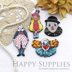 4Pcs Handmade Wooden Laser Cut Clown Charms / Pendants (CW111)