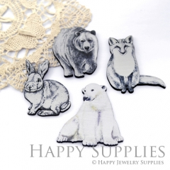 4Pcs Handmade Wooden Laser Cut Animal Charms / Pendants (CW104)