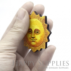 4Pcs Handmade Wooden Laser Cut Sun Smile Charms / Pendants (CW114)