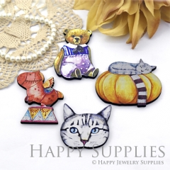 4Pcs Handmade Wooden Laser Cut Animal Charms / Pendants (CW106)