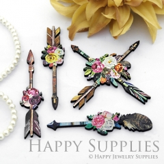 4Pcs Wooden Tribal Arrow Charms, Handmade Laser Cut Wood Flower Arrow Pendant, Fit for Necklace Earrings Brooch (CW109)