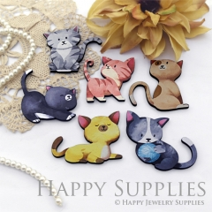 4Pcs Wooden Cats Act Various Cute Charms, Handmade Laser Cut Wood Animals Pendants, Fit for Necklace Earrings Brooch (CW110)