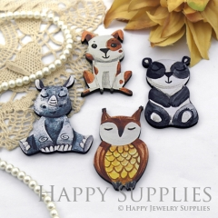 4Pcs Handmade Wooden Laser Cut Animal Charms / Pendants (CW108)