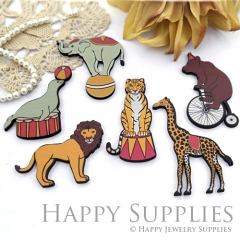 4Pcs Handmade Wooden Laser Cut Animal Charms / Pendants (CW112)