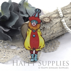 4Pcs Handmade Wooden Laser Cut Clown Charms / Pendants (CW111-B)
