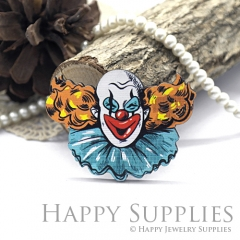 4Pcs Handmade Wooden Laser Cut Clown Charms / Pendants (CW111-D)