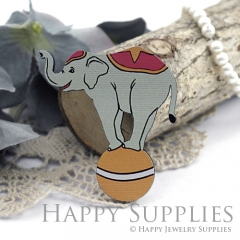 4Pcs Handmade Wooden Laser Cut Animal Elephant Charms / Pendants (CW112-B)
