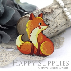 4Pcs Mini Handmade Wooden Laser Cut Easter Halloween Animal Foxes Charms / Pendants (CW113-E)