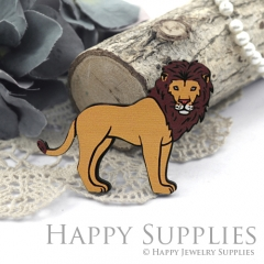 4Pcs Handmade Wooden Laser Cut Animal Lion Charms / Pendants (CW112-C)
