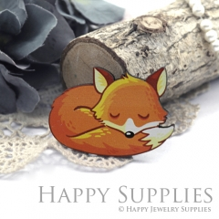 4Pcs Mini Handmade Wooden Laser Cut Easter Halloween Animal Foxes Charms / Pendants (CW113-C)