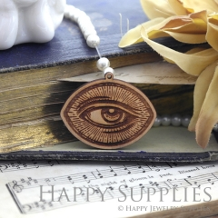 2Pcs Handmade Ancient Rome Mysterious Laser cut Eye Wooden Charms,Wooden Pendants,Earring Pendant Charm,Necklace Pendant Charm(BWP06-C)