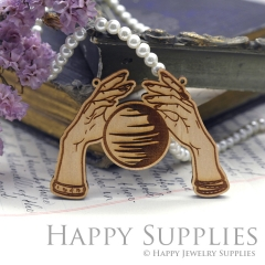 2Pcs Handmade Mysterious Laser cut Palm and Planet Wooden Charms,Wooden Pendants,Earring Pendant Charm,Necklace Pendant Charm(BWP02-A)