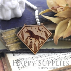 2Pcs Vintage Laser cut Running Unicorn Moon Star Branch Wooden Charms,Wooden Pendants,Earring Pendant Charm,Necklace Pendant Charm(BWP04-C)