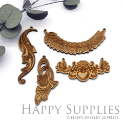 2Pcs Handmade Vintage Laser cut Flower Branch Leaf Feather Wooden Charms,Wooden Pendants,Earring Pendant Charm,Necklace Pendant Charm(BWP08)