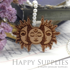 2Pcs Handmade Mysterious Ancient Rome Laser cut Sun Face Wooden Charms,Wooden Pendants,Earring Pendant Charm,Necklace Pendant Charm(BWP02-B)
