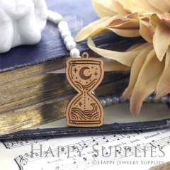 2Pcs Vintage Ancient Rome Mysterious Laser cut Hourglass Wooden Charms,Wooden Pendants,Earring Pendant Charm,Necklace Pendant Charm(BWP05-E)