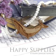 2Pcs Handmade Vintage Laser cut Dolphin Wooden Charms,Wooden Pendants,Earring Pendant Charm,Necklace Pendant Charm(BWP03-D)