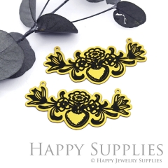 2pcs Raw Brass Paint Black Vintage Style Flower Branch Charm / Pendant,Fit For Necklace,Brass Necklace Pendant(BB52)