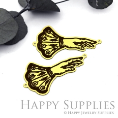 2pcs Raw Brass Paint Black Vintage Style Hand Charm / Pendant,Fit For Necklace,Brass Necklace Pendant(BB56)