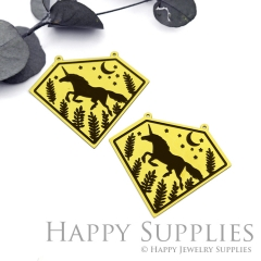 2pcs Raw Brass Paint Black Vintage Style Running Unicorn Moon Star Branch Charm / Pendant,Fit For Necklace,Brass Necklace Pendant(BB54)