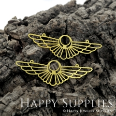 2pcs Raw Brass Creative Geometric Cool Wing Shape Charm / Pendant, Fit For Necklace, Earring, Brooch (RD487)