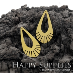 4pcs Raw Brass Creative Geometric Teardrop Shape Charm / Pendant, Fit For Necklace, Earring, Brooch (RD479)