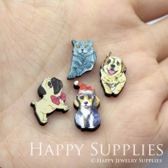 4pcs DIY Laser Cut Photo Wooden Animal Cat Dog Charms