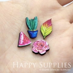 4pcs DIY Laser Cut Photo Wooden Cactus Flower Leaf Watermelon Charms