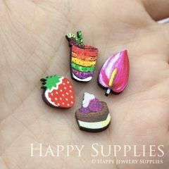 4pcs DIY Laser Cut Photo Wooden Food Cake Fruit Peach Strawberry Charms