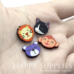 4pcs DIY Laser Cut Photo Wooden Animal Lion Cat Monkey Bear Charms