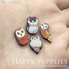 4pcs DIY Laser Cut Photo Wooden Animal Owl Parrot Bird Charms