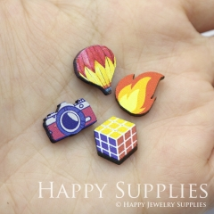 4pcs DIY Laser Cut Photo Wooden Rubik's Cube Camera Fire Hot Balloon Charms