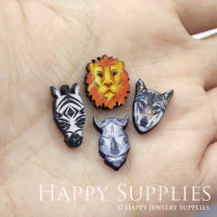 4pcs DIY Laser Cut Photo Wooden Animal Tiger Wolf Rhinoceros Zebra Charms