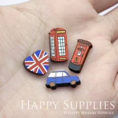 4pcs DIY Laser Cut Photo Wooden Australia Flag Post Call Box Post Taxi Car Charms