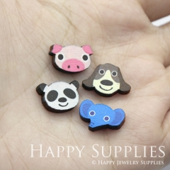 4pcs DIY Laser Cut Photo Wooden Animal Pink Pig Blue Elephant Panda Dog Charms