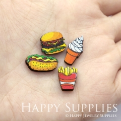 4pcs DIY Laser Cut Photo Wooden Food Hamburger French Fries Icecream Charms