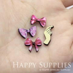 4pcs DIY Laser Cut Photo Wooden Girl Hair Flower Bow Hand Charms