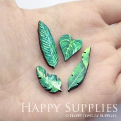 4pcs DIY Laser Cut Photo Wooden Plant Green Leaf Charms