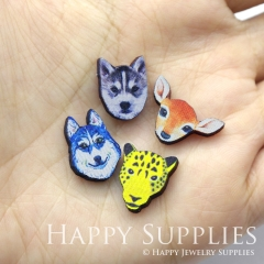 4pcs DIY Laser Cut Photo Wooden Animal Wolf Deer Leopard Husky Dog Head Charms