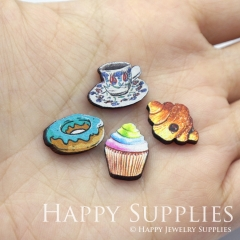 4pcs DIY Laser Cut Photo Wooden Food Bread Donut Cupcake Coffee Charms