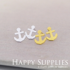 4pcs (2 pairs) Nickel Free Anchor Earrings,Golden/Silver Anchor Stud Earrings,Anchor Earring Studs/Posts,Anchor Earring (ZEN174)