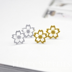 4pcs (2 pairs) Nickel Free Creative Flower Earrings,Golden/Silver Flower Stud Earrings,Flower Earring Studs/Posts,Flower Earring (ZEN159)