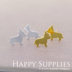 4pcs (2 pairs) Nickel Free Dog Earrings,Golden/Silver Dog Stud Earrings,Dog Earring Studs/Posts,Dog Earring (ZEN181)